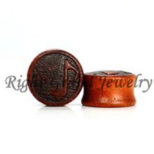 Jewellery Jewel Body Piercing Music Hinweis Carving Design Wooden Flesh Ear Plug