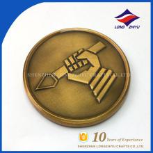Article de promotion de cadeau Bronze antique Détails Conception Médaillée Pièces de monnaie en laiton antique