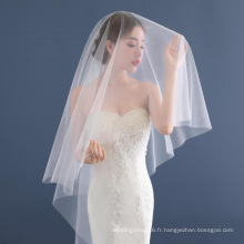 Voile de mariée de mariage de tulle d'ivoire / blanc de haute qualité 1.5 mètres