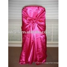 Satin fabric chair cover,hot-pink satin bag chair cover, chair cover sash,hotel chair cover