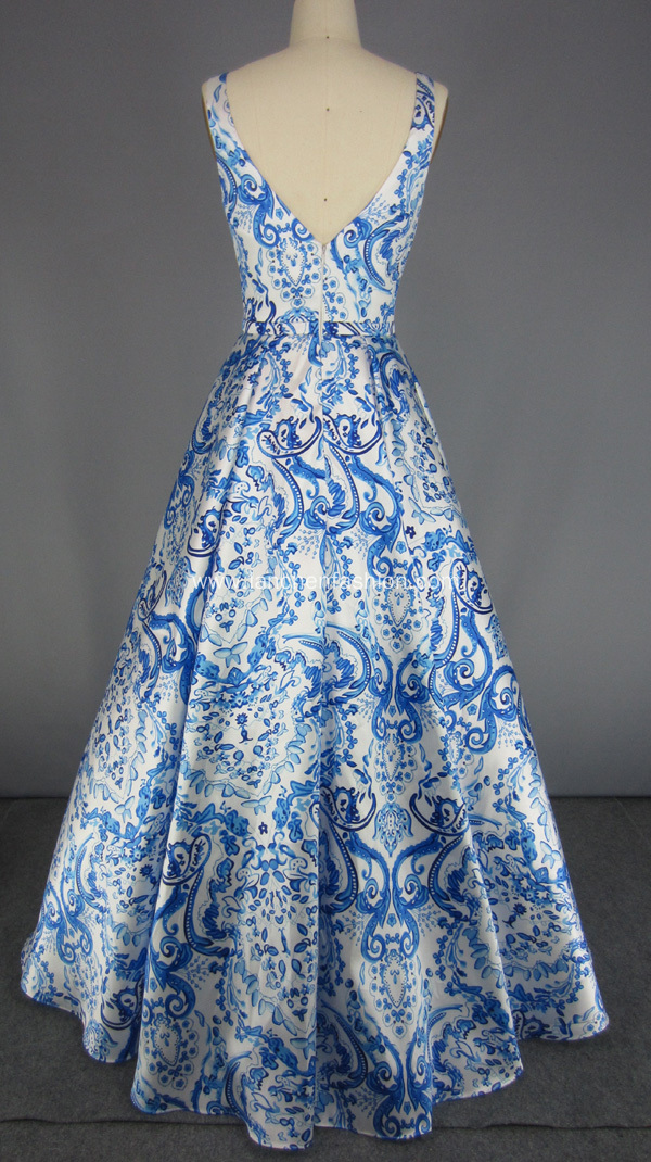 V Neck Flower Printed Mikado Prom Dresses
