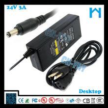 Adaptateur cv de la série 24v 72w 3a DC Adaptateur CCTV LCD et périphériques de bureau avec CE FCC GS C-tick, UL / CUL