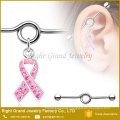 Surgical Steel Gem Paved Pink Ribbon Charm Dangle Industrial Barbell