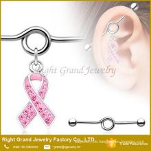 Chirurgischer Stahl Gem gepflastert Pink Ribbon Charm Dangle Industrial Barbell