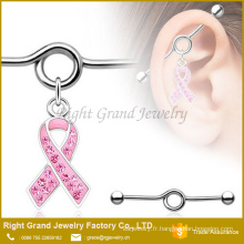 Bijou en acier chirurgical ouvert ruban rose charme Dangle Barbell industriel