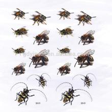 3D simulado bumble bee cucaracha tatuaje no tóxico de la etiqueta engomada para Tricky