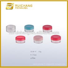 Récipient cosmétique en plastique de 10 g / pot, pot de crème cosmétiques, pot plastique en plastique, emballage cosmétique en plastique
