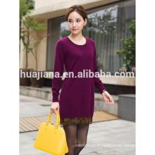 2016 robe de tricot en cachemire de dame de conception