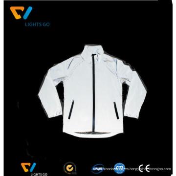 ropa reflexiva blanca de la tela de la seguridad de la ropa de la seguridad del visón blanco de plata