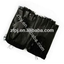 Encaje de diseño de verano de cuero negro niñas guantes sin dedos