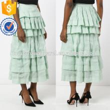 El último diseño 2019 Mint Green Layered Frill Otoño Midi Skirt Manufacture Wholesale Fashion Women Apparel (TA0032S)