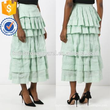 Latest Design 2019 Mint Green Layered Frill Autumn Midi Skirt Manufacture Wholesale Fashion Women Apparel (TA0032S)