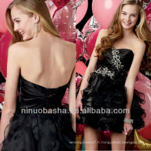 Fashion Black Sweetheart Tiered Skirt Crystal Détails A Line Mini Robe Graduation Court Homecoming Gown