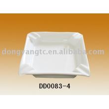4-Zoll-Keramik-Aschenbecher Quadrat weiß