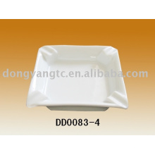 Cenicero de cerámica de 4 pulgadas cuadrado blanco
