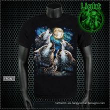 Y-100213 Camiseta del tatuaje del lobo que brilla intensamente