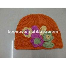 Sombreros de los niños que hacen punto el gorra del sombrero de la flor de la gorrita tejida del ganchillo de los sombreros del ganchillo del casquillo
