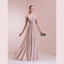 Mousseline de soie plissée une ligne de longueur robe de soirée de longueur