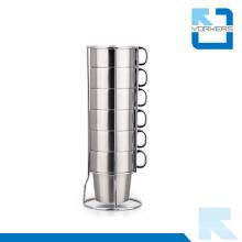 Multi-fonctionnel 6 pièces de tasse de café en acier inoxydable et tasse de lait pour le commerce de gros