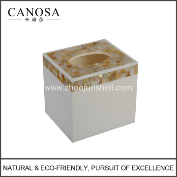 Handmade Golden Seashell Mosaic Tissue Box for Hotel