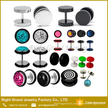 Custom Latest Design Stainless Steel Multi-Gems Fake Plug Earrings