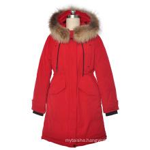 Ladies' adjustable waist long regular sleeve 100% polyester coat with real raccoon fur hood