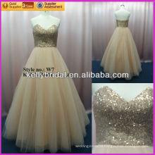 sexy New style really sample hot sale Golden V-neckline evening dress