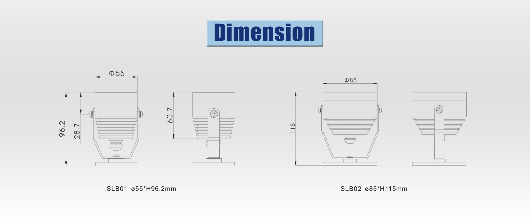 led spotlight dimension