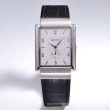 Rectangulaire Day Date automático de plata Dial reloj de cuero negro