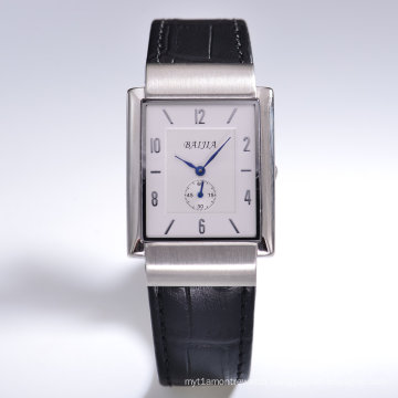 Rectangulaire Day Date Automatic Silver Dial Black Leather Watch