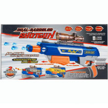 Rojo y azul y negro de juguete barrado de escopeta