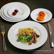 assiette en gros en vrac, assiette en porcelaine blanche