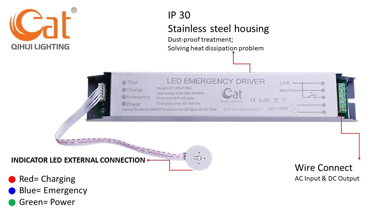Detail information for LED emergency backup lighting kit