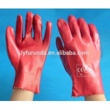 Luva de trabalho de PVC vermelho, 10-11 polegadas, acabamento liso