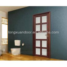 Porta de alumínio com vidro grelhado fosco vidro, design de porta de alumínio