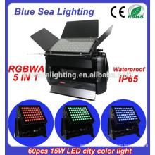 DMX 60pcs 15w rgbwa 5 в 1 IP65 водонепроницаемый наружный свет наводнения 900w