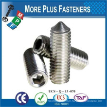 Made in Taiwan A2 Stainless Steel M4 to M12 Cone Point Grub Screw DIN 914 Cone Point Socket Set Screw