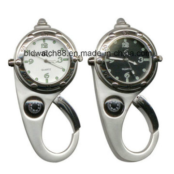 Лучший Водонепроницаемый карабин часы с компасом и фонариком