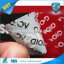 Anti fake Low Residue open void PET sticker/black void labels