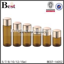 Échantillon en verre flacon 2 ml 100 ml ambre verre flacon vide ambre couleur verre bouteille avec or en aluminium à vis bouchon en porcelaine fournisseur
