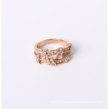 Rose Gold Plated Fashion Jewelry Ring with Rhinestones