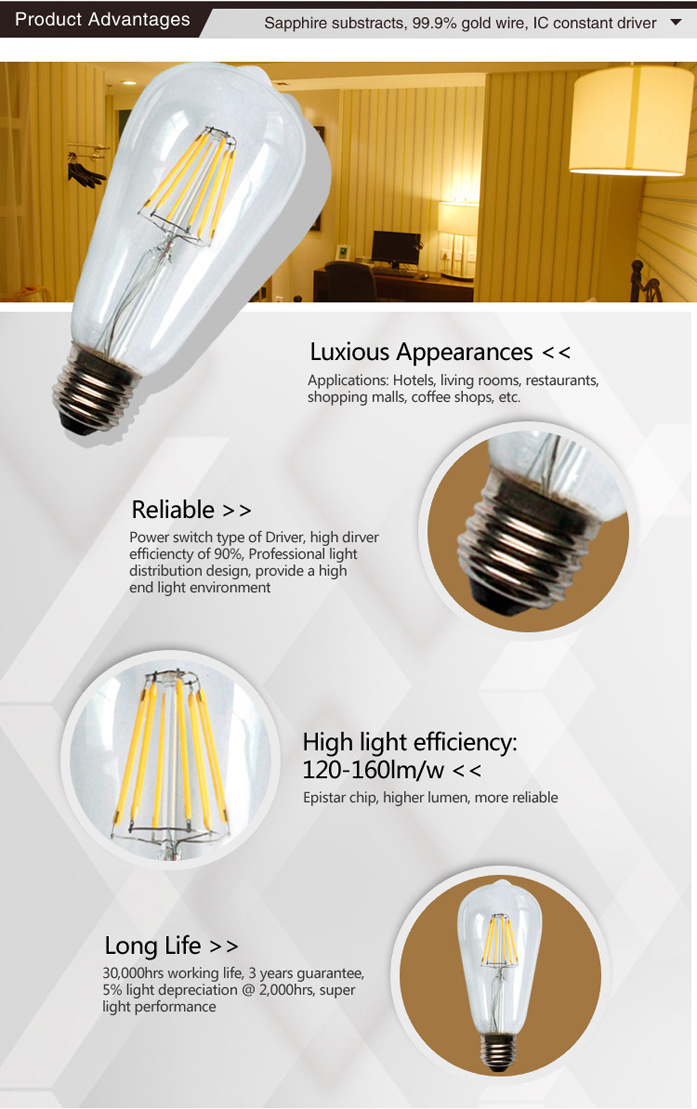CAR Light 6W LED Edison Style Vintage LED Filament Bulb E26 Base Lamp