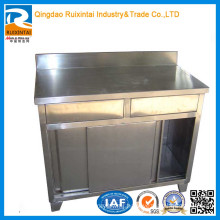Stainless-Steel-Kitchen-Table-with-Two-Drawers-and-Back-Splash