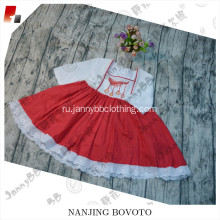 Wholesale chiffon fabric red girls dress