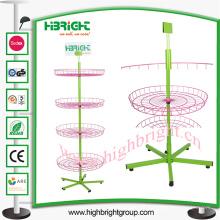 Spinner ajustable de la cesta de alambre del piso ajustable de 4 niveles
