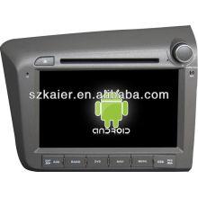 Reproductor de DVD del coche Android System para 2012 Honda Civic (derecha) con GPS, Bluetooth, 3G, iPod, juegos, zona dual, control del volante