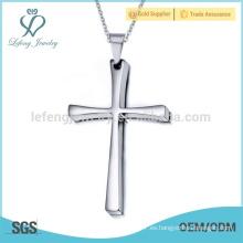 Clásico de la moda de acero inoxidable de plata cruz colgante joyería