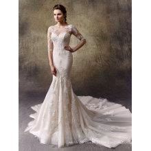 Manga longa destacável jaqueta de renda sereia vestido de noiva nupcial