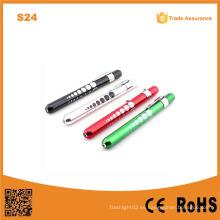 S24 Luz de la pluma de aluminio con indicador del alumno Luz de la antorcha médica del doctor