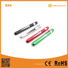 S24 alumínio caneta luz com aluno medidor médico tocha médica luz